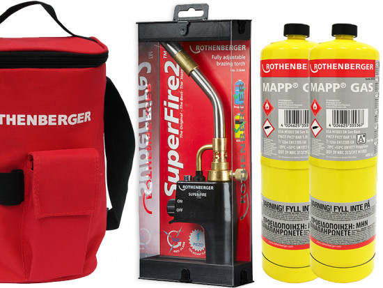 Plumbers Hot Bag, Superfire 2 Torch And 2 Mapp Gas