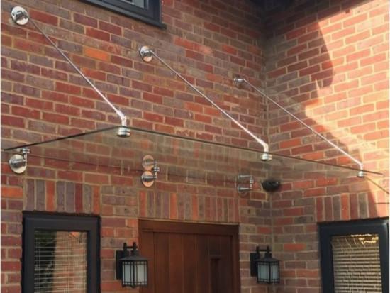 Mewslade Glass Door Canopy With Tie Rods Heavy-Duty