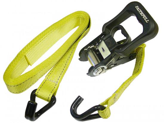 Ratchet Tie-Downs J Hook 5m x 32mm Breaking Strain 2000kg 2 Piece
