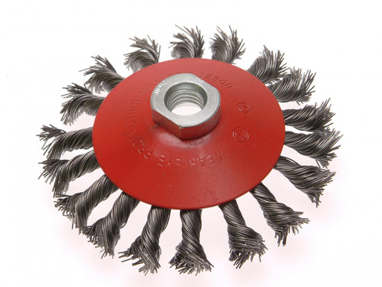 Conical Wire Brush 100mm x M14 x 2 0.50mm Wire