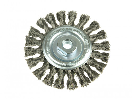 Knot Wheel Brush 115mm x 14mm 22.2 Stainless Steel Wire