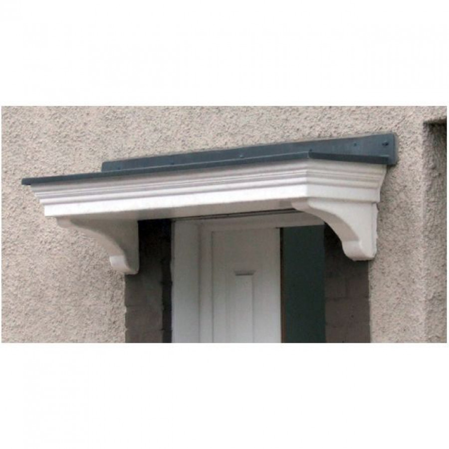Epsom Flat Lead Effect Roof Grp Door Canopy