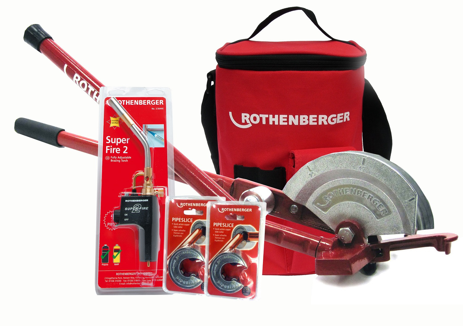 Rothenberger Superfire 2 Kit With Multibender Carry Bag And Pipeslice Hotbag Deal