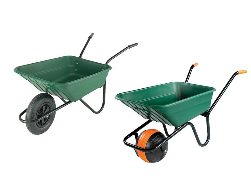 Walsall 90L Green Polypropylene Wheelbarrow Puncture Proof