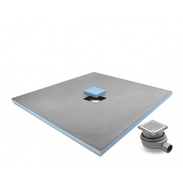 Centre drain wet room shower tray  with Stainless Steel Grid Drain Kit
