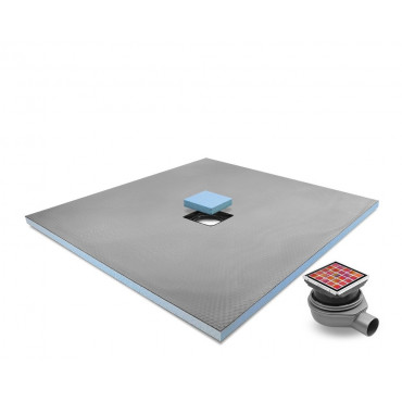 Centre drain wet room shower tray  with Tileable Grid Drain Kit