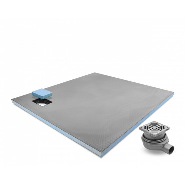 Corner drain wet room shower tray with Standard Grid Drain Kit