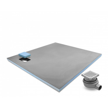 Corner drain wet room shower tray with Stainless Steel Grid Drain Kit