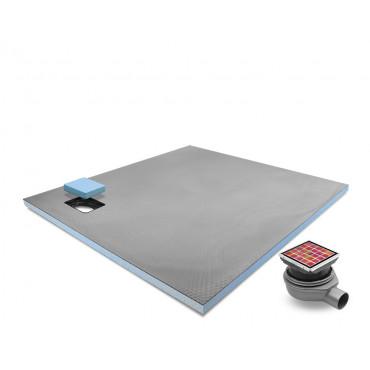 Corner drain wet room shower tray with Tileable Grid Drain Kit