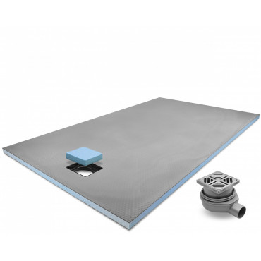 End drain wet room shower tray with Standard Grid Drain Kit