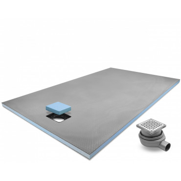 End drain wet room shower tray with Stainless Steel Grid Drain Kit