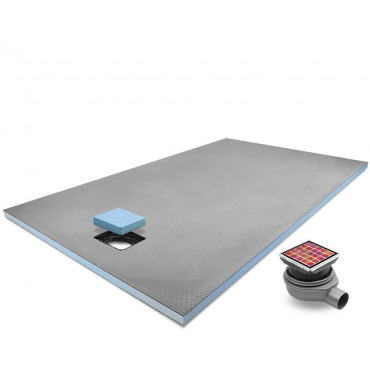 End drain wet room shower tray with Tileable Grid Drain Kit
