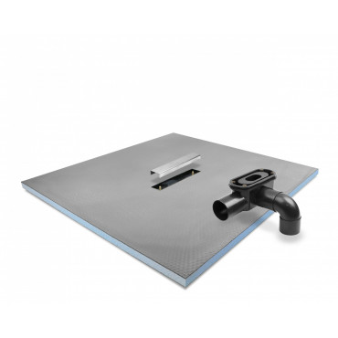 Linear Center drain wet room shower tray with Linear Drain and stainless steel cover