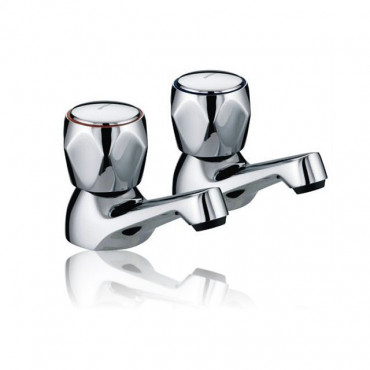 Standard Metal Head Basin Pillar Taps (Pair)