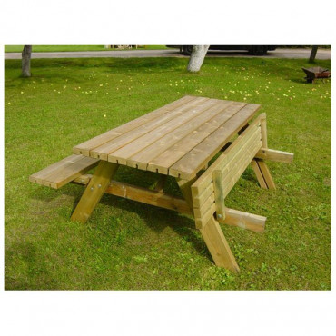 Oblong Wooden Garden Table with Seats