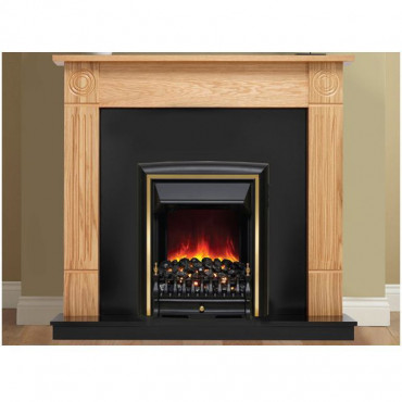 Darras Electric Fireplace Suite - Natural Oak Black Effect - 13 Inch Hearth