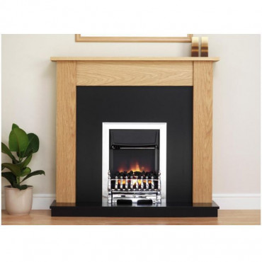 Linden Electric Fireplace Suite - Satin Oak Black Effect 20 Inch Hearth