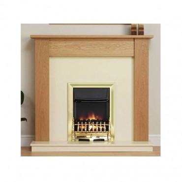 Linden Electric Fireplace Suite - Satin Oak Marfil Effect 13 Inch Hearth