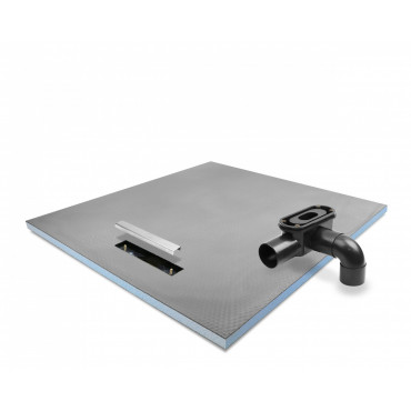Linear End drain wet room shower tray with Linear Drain and stainless steel cover