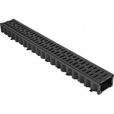 1m HexDrain Channel With Black Plastic Grating 19310