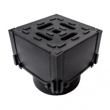 HexDrain Corner Unit Black Plastic Grating, Vertical Outlet 19559