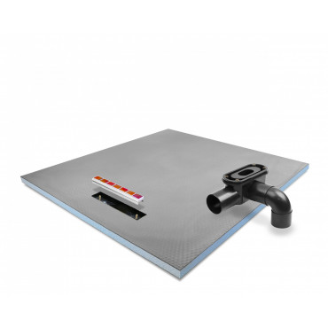 Linear End drain wet room shower tray with Linear Drain and Tileable cover