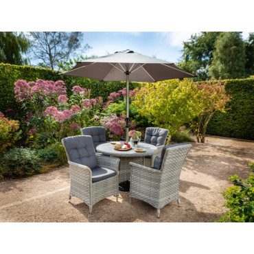 Heritage 4 Seat Round Set Ash Comes With 2.5m Round Luxury Parasol + 15kg Base