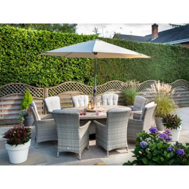 Heritage 8 Seat Elliptical Set Beech With Lazy Susan Comes With 3m Round Luxury Parasol + 15kg Base and Free Cover