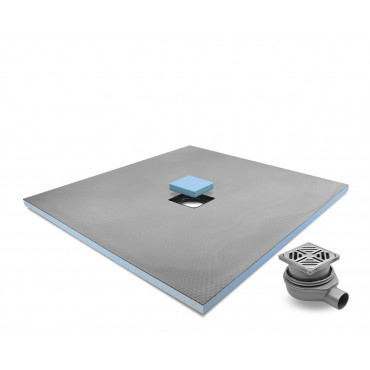 Centre drain wet room shower tray with Standard Grid Drain Kit