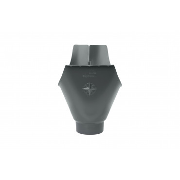 Steel Half Round Wrap Around Gutter Outlet 100mm Diameter Anthracite Finish