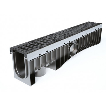 Technodrain 1m HDPE 100mm Channel 6mm Slot With D400 Ductile Iron Grating
