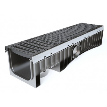 Technodrain 1m HDPE 200mm Channel 210mm Height With D400 Ductile Iron Grating