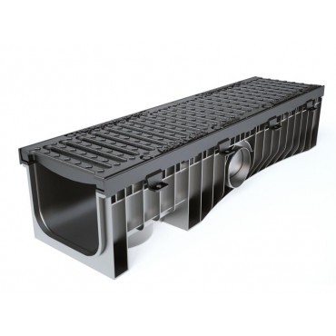 Technodrain 1m HDPE 200mm Channel 210mm Height With F900 Ductile Iron Grating