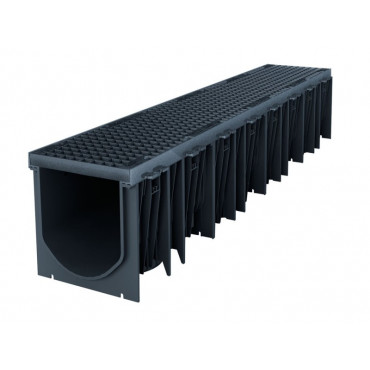 Technodrain 1m HDPE 300mm Channel With F900 Ductile Iron Grating