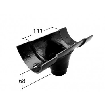 Traditional 125mm Half Round Outlet 76mmø
