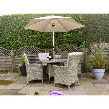 Heritage 4 Seat Round Set Beech Comes With 3m Round Luxury Parasol + 15kg Base