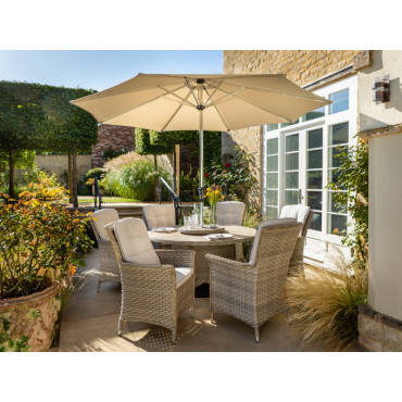 Heritage 6 Seat Round Set Beech With Lazy Susan Comes With 3m Round Parasol + 15kg Base