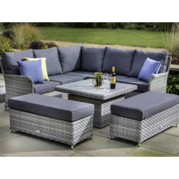 Heritage Square Casual Dining Set With Adjustable Table Ash/Slate