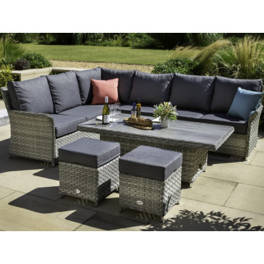 Heritage Rectangular Casual Dining Set With Adjustable Table Ash/Slate
