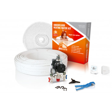High Output Water Underfloor Heating Kit with Heatmiser Slimline-RF Thermostat