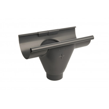 Steel Half Round Prefabricated Outlet 300mm 100mm Diameter Anthracite Finish