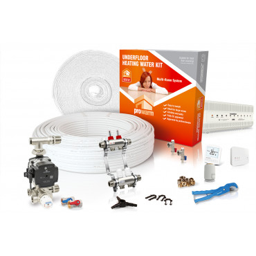 Multiple Room Water Underfloor Heating Kit with Heatmiser Slimline-RF Thermostat