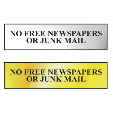 No Free Newspapers Or Junk Mail Sign